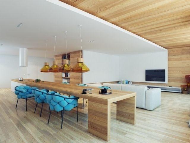 Holzverkleidete Innenwände-Pendelleuchten gelbes Glas-Kochinsel - wandgestaltung esszimmer
