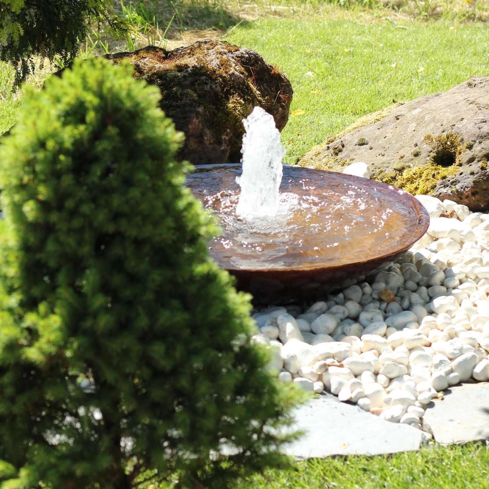 Wasserspiel Set Cortenstahl Wasserschale 80 Gartenbrunnen Edelrost Design Gartenbrunnen Cortenstahl Edelrost