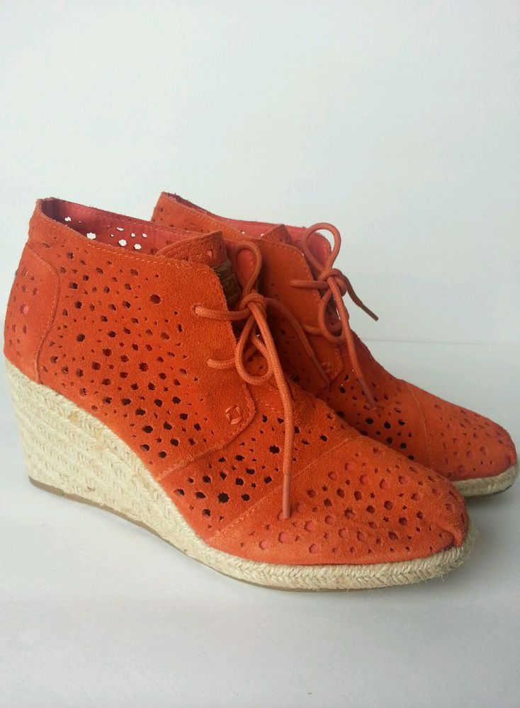 ae22be8cade TOMS Moroccan Desert Wedge Orange Lace Up Booties NEW Size 7.5  Toms   Booties