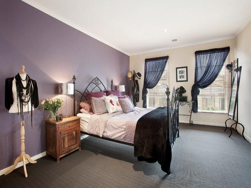 Pastel Green Blue And Purple Bedroom Romantic Bedroom Design Idea With Carpet Sash Windows