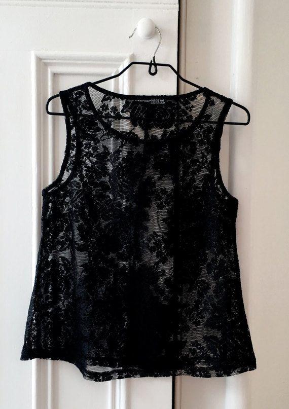 Black Lace Tank / Vest by StowedOut on Etsy