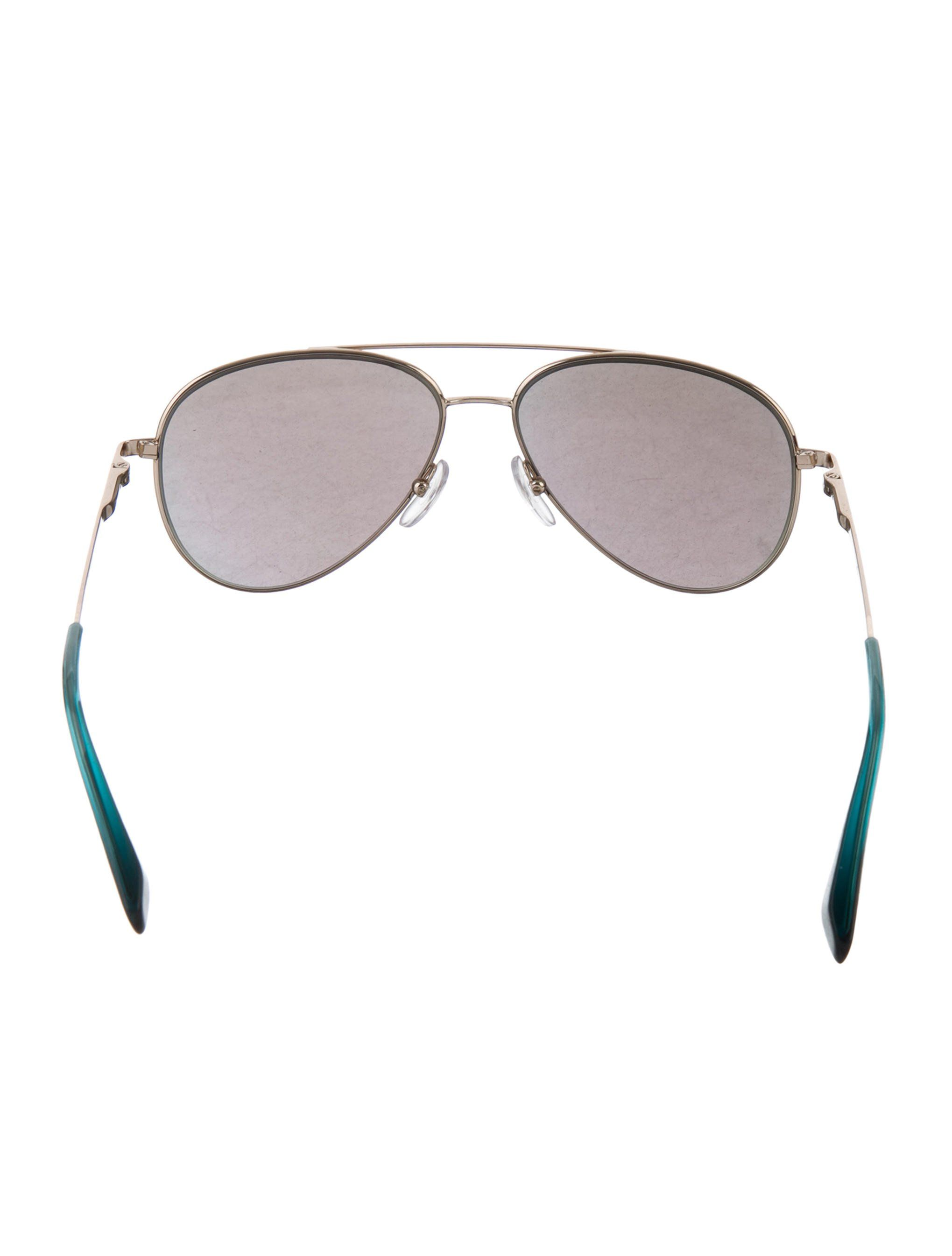 2bc75aeccf Silver-tone metal Cutler and Gross aviator sunglasses with green reflective  lenses. Includes case