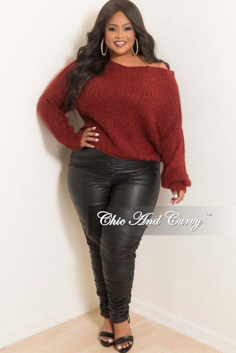 d78514cf250 Plus Size High Waist Ruched Faux Leather Pants in Black – Chic And Curvy