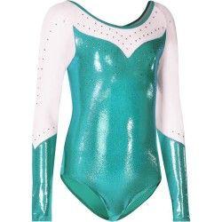 Justaucorps manches longues Strass Voile Gym Fille Turquoise-Blanc ... f7af81bef7c