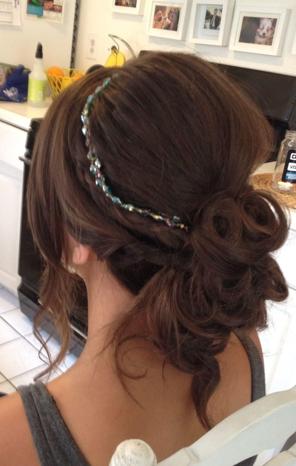 soft low updo with headband by lisa leming | bridal hair