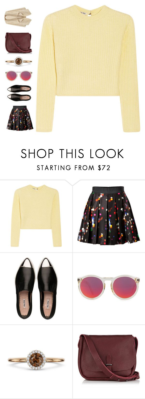 """""""endless love"""" by ouchm4rvel ❤ liked on Polyvore featuring Miu Miu, Milly, Le Specs and Jigsaw"""