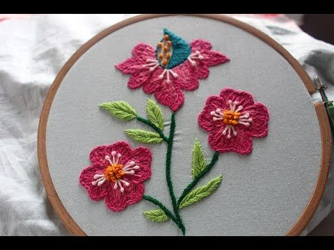 Hand Embroidery Designs Beautiful Flower Design Stitch And