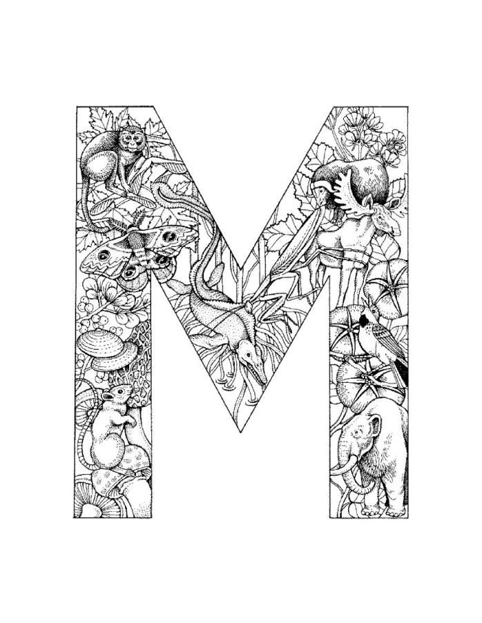 Detailed alphabet coloring page