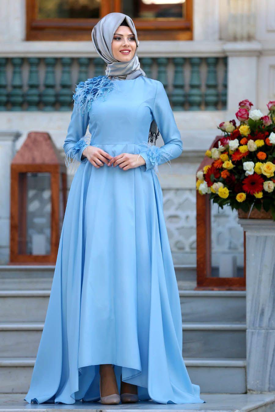 d32417f1c060c Tuay - Çiçek Detaylı Mavi Tesettür Abiye Elbise 2492M #tesetturisland # tesettur #tesetturelbise #