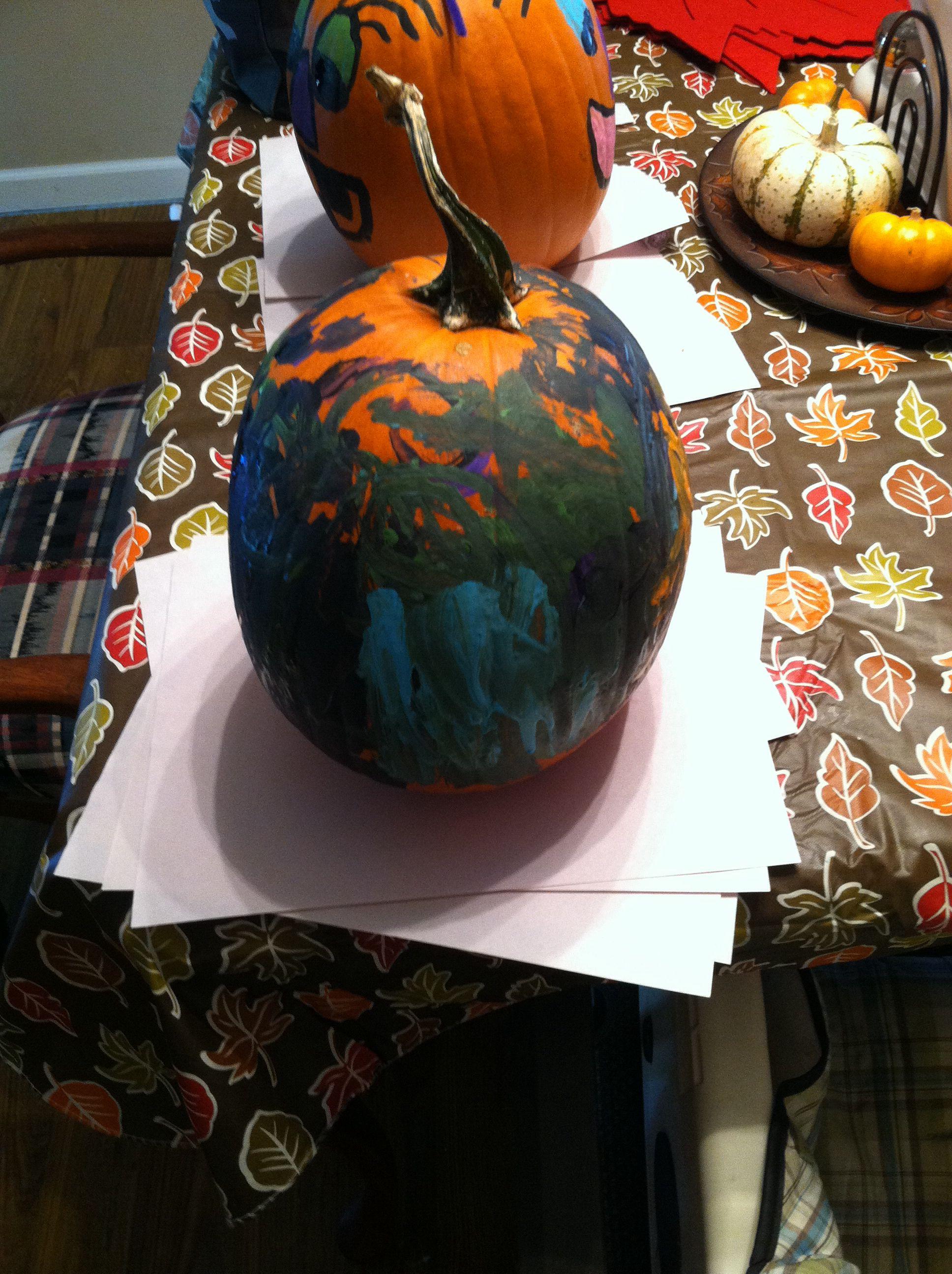 Pumpkin Decorating With A Toddler A Big Pumpkin