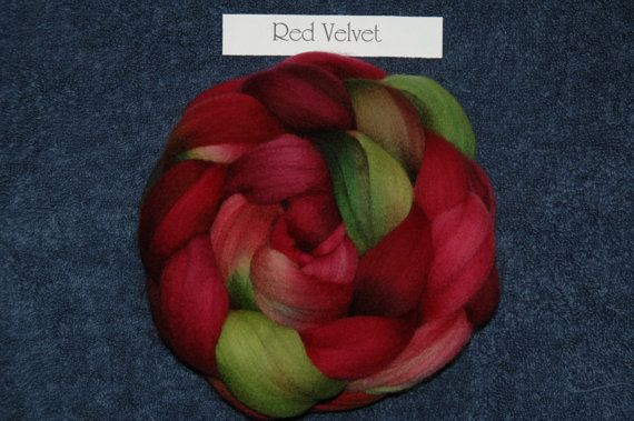RED VELVET- hand dyed wool tops for spinning, felting 100g (3 1/2 oz) Look in my Shop for more great colourways