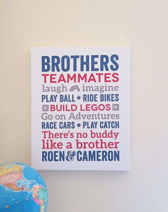Brothers CANVAS Brothers Wall Art Boy Room Decor Brother Quotes Big ...