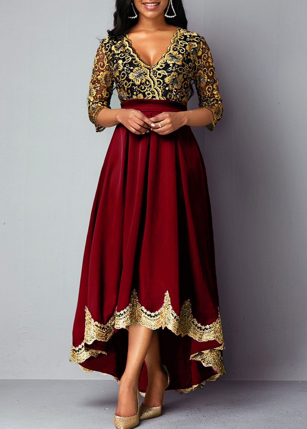 Rotita.com - USD $17.17  Lace panel dress, High waist dress