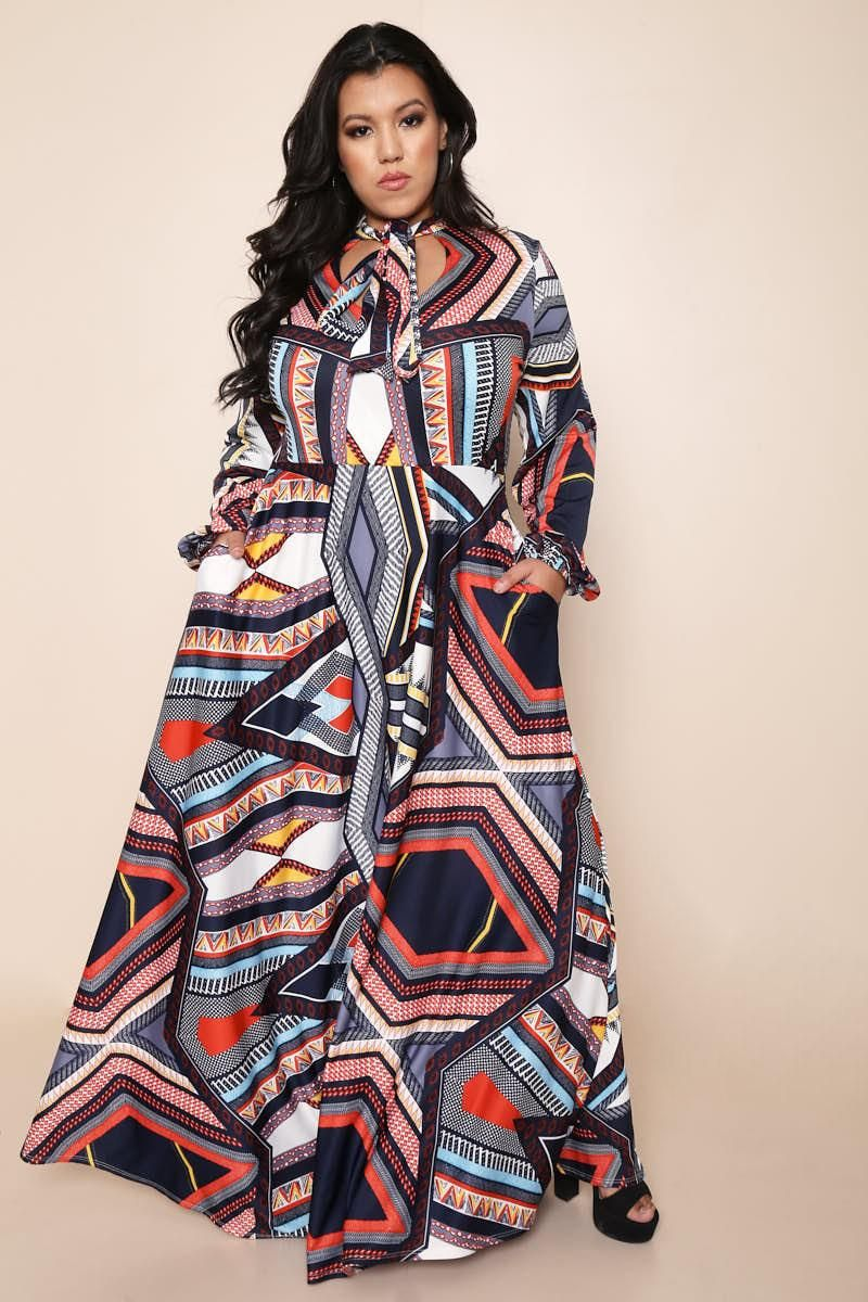 A bold plus size maxi dress that will bring color to your outfit