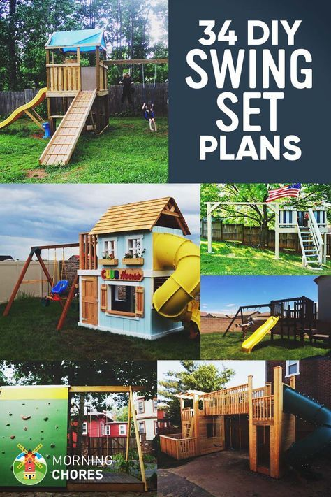 34 Free Diy Swing Set Plans For Your Kids Fun Backyard Play Area Swing Set Diy Backyard Play Play Area Backyard