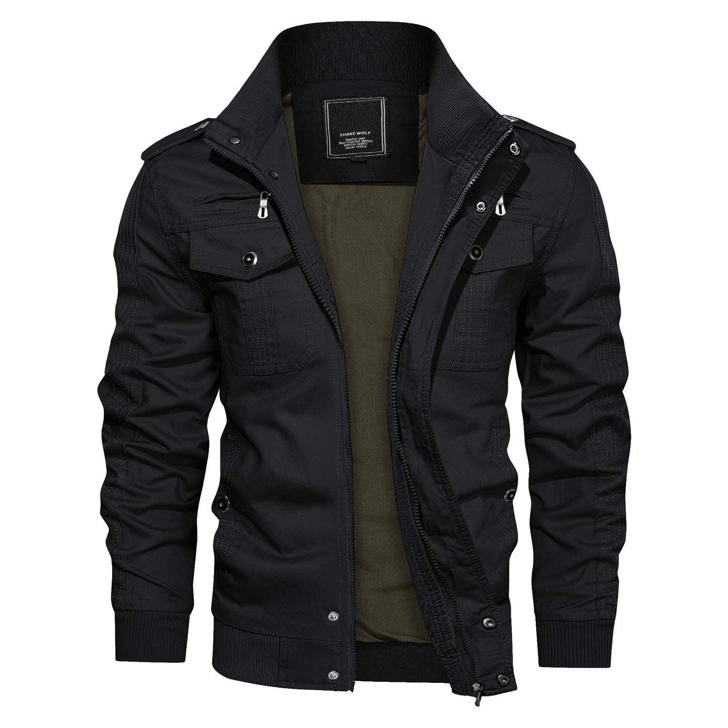 KEFITEVD Mens Winter Jacket Tactical Fall Cotton Warm Lightweight Coat with Removable Hood