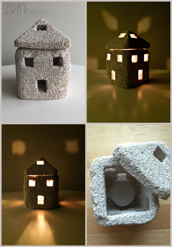 Exceptional Natural Home Decor/ Pumice Stone Candle Holder/ By SerayDesign