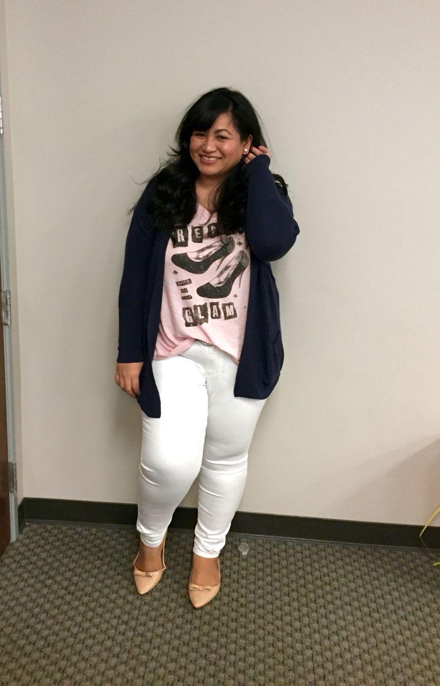 74a50b76733 Fashion curvy girls white jeans style pink