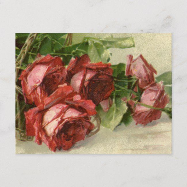 Vintage Valentines Day Crimson Red Roses Holiday Postcard