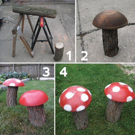 Diy garden decoration ideas old things mushrooms wood logs for Garden decoration ideas