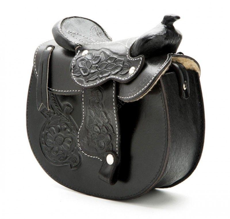 53-MP0239BLK | Bolso silla montar para mujer piel negra con motivos florales - Corbeto's Boots
