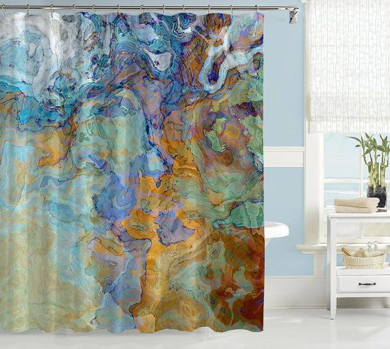 Contemporary Shower Curtain Abstract Art Bathroom Decor Blue Green Orange And Brown Bridge