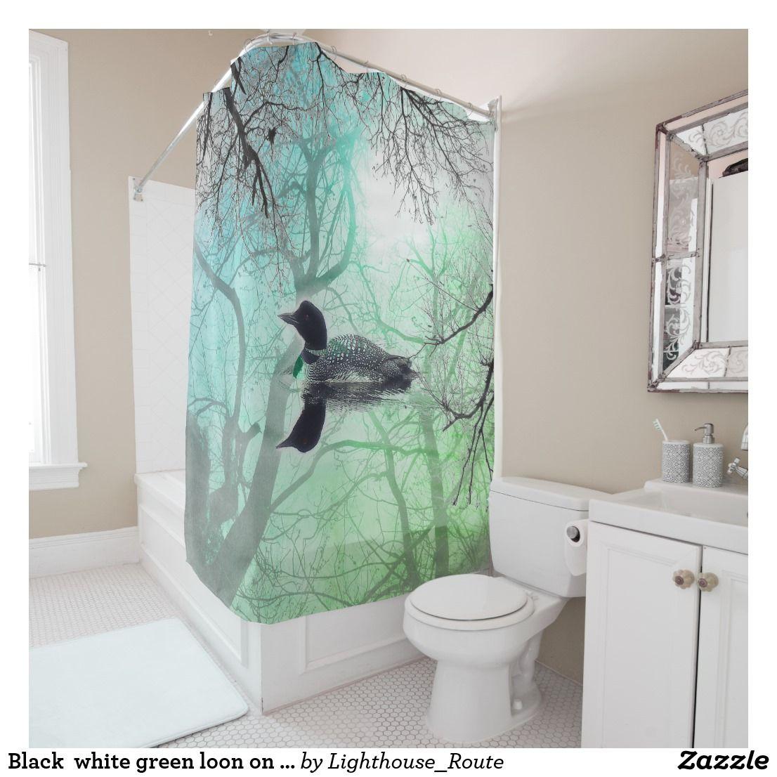 Black white green loon on a lake Shower Curtain | Lakes, Bath shower ...