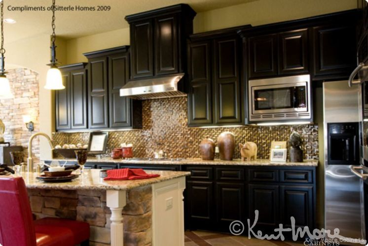 custom kitchen cabinets by kent moore cabinets dark maple wood with midnight mystique finish - Kent Kitchen Cabinets