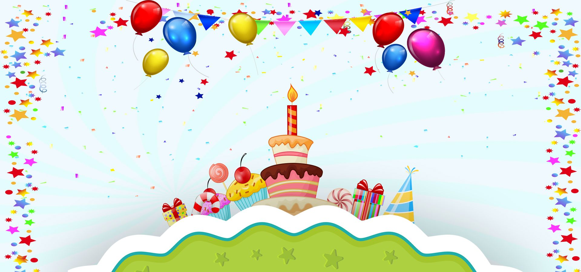 Multicolored Balloons Cartoon Birthday Banner Background