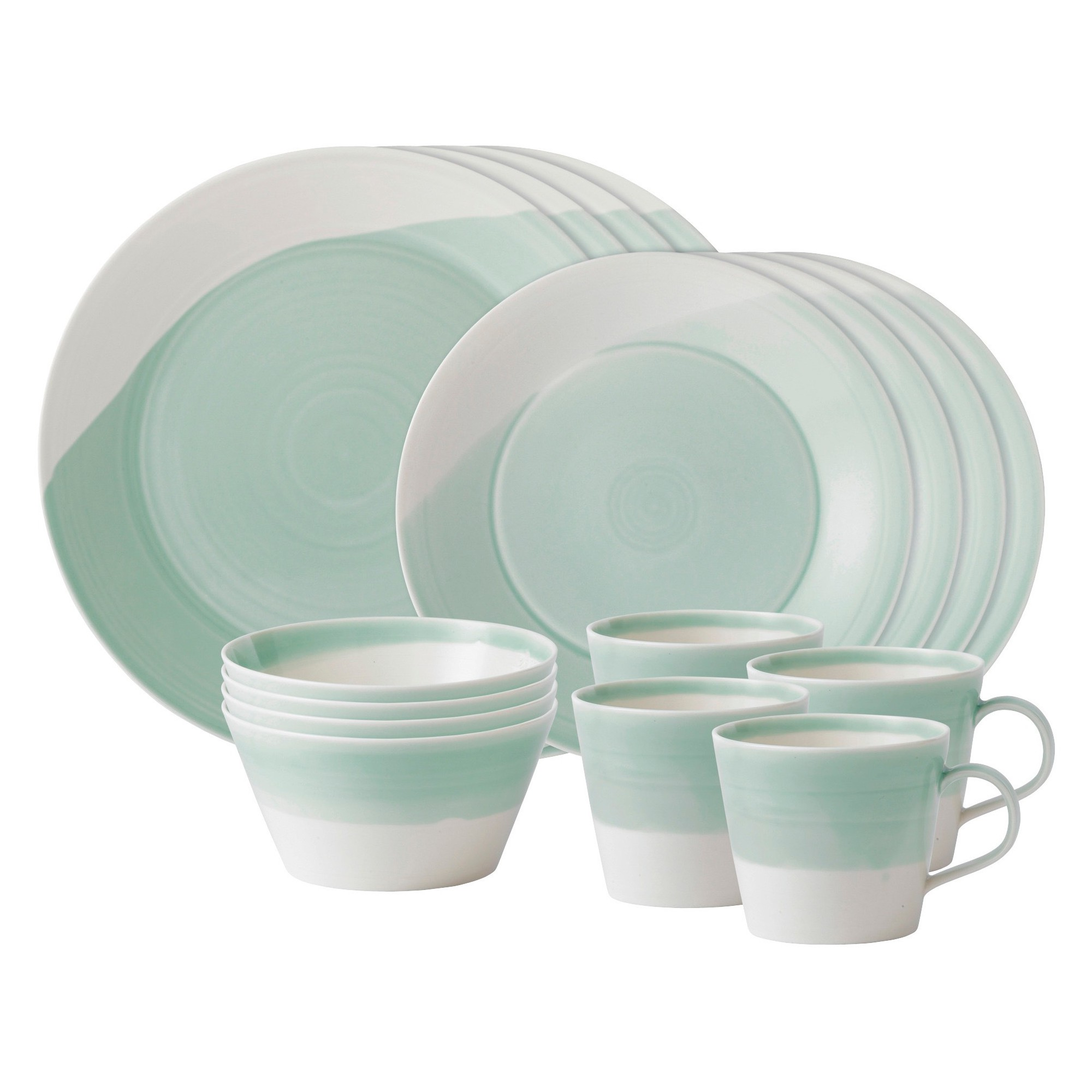Royal Doulton 1815 Porcelain 16pc Dinnerware Set Green