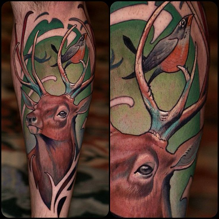 Neo Traditional Stag Tattoo