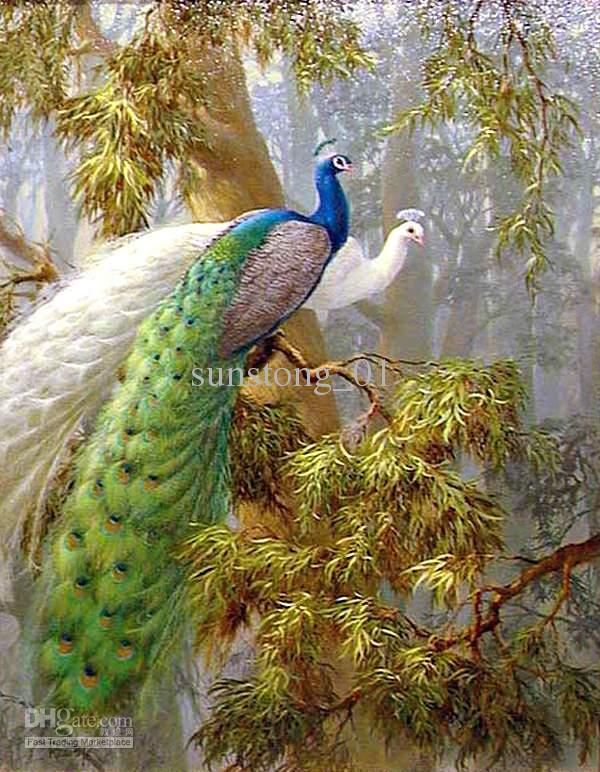 Beautiful Peacock Oil Painting Animal Paints Handmade Oil