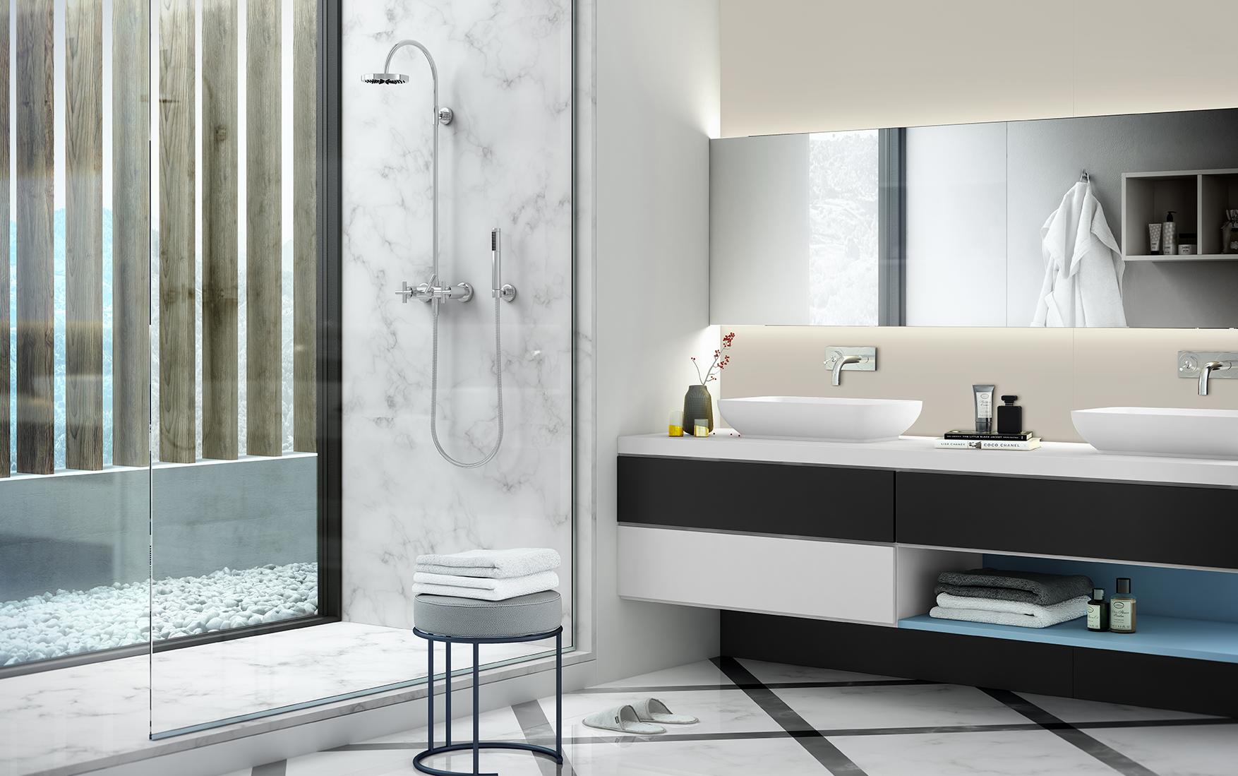 Mélamine Gama Duo : salle d'eau avec décors Blanco Artico (040), Petroleo (188), Azul Pastel (19R) et Gris Porrino (194).