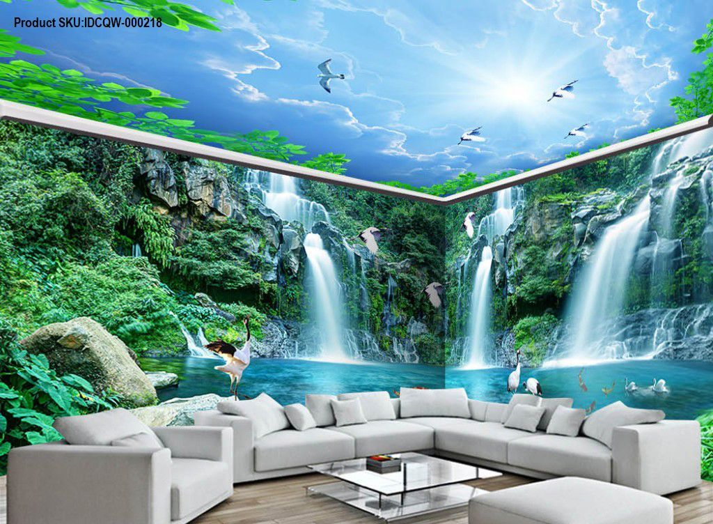 3D Long Waterfall Mountain Blue Sky Mountain Entire Room