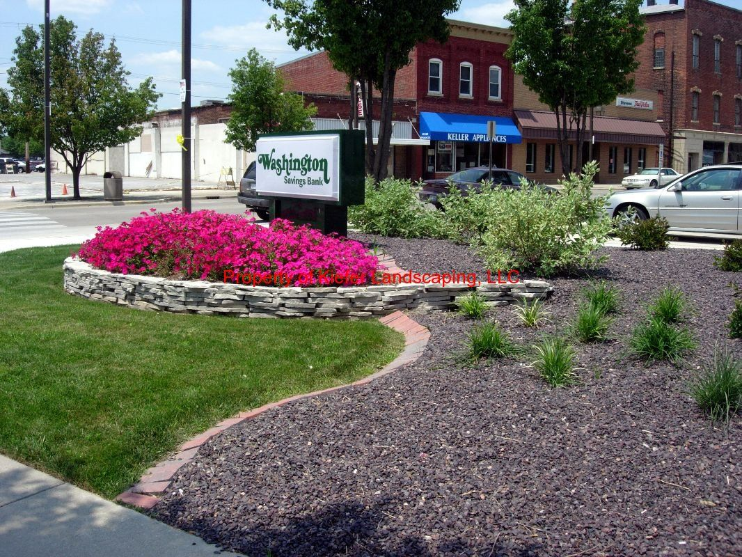 Commercial Landscape Design Annuals Stone Drystack Wall Brick