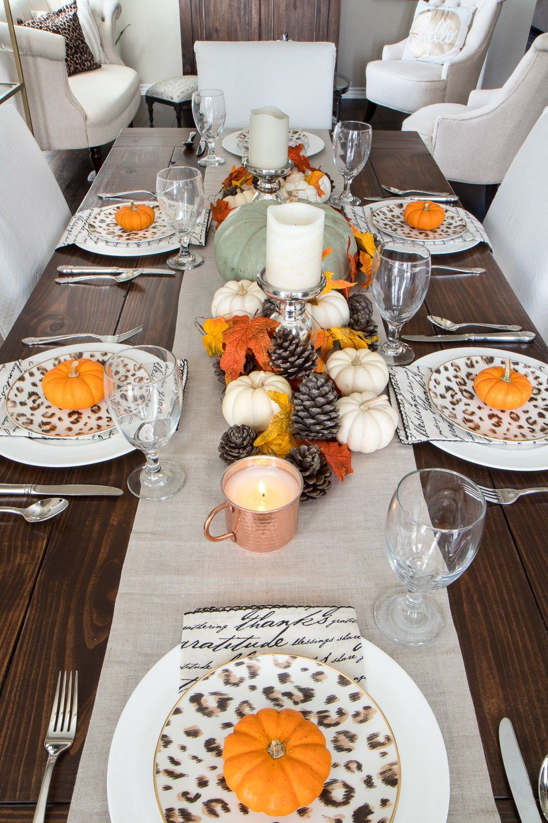 Fall Dining Room Tour Pumpkin Decor Tabletop Centerpiece Thanksgiving Table Leopard Dishes Farm Table Autumn Dining Fall Dining Room Thanksgiving Table