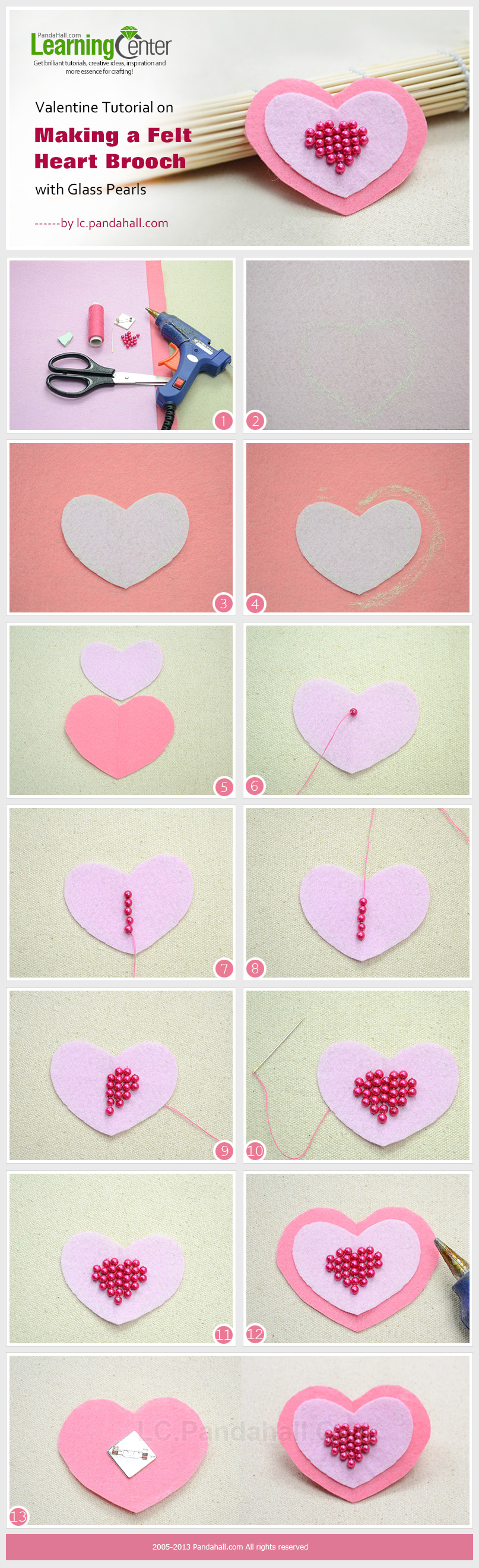 Valentine Tutorial on Making a Felt Heart Brooch with Glass Pearls