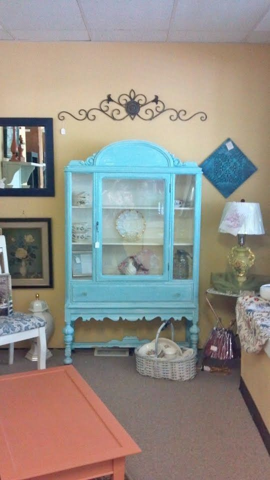 STATEMENT~Antique painted CHINA LINEN CABINET STORAGE~so ...