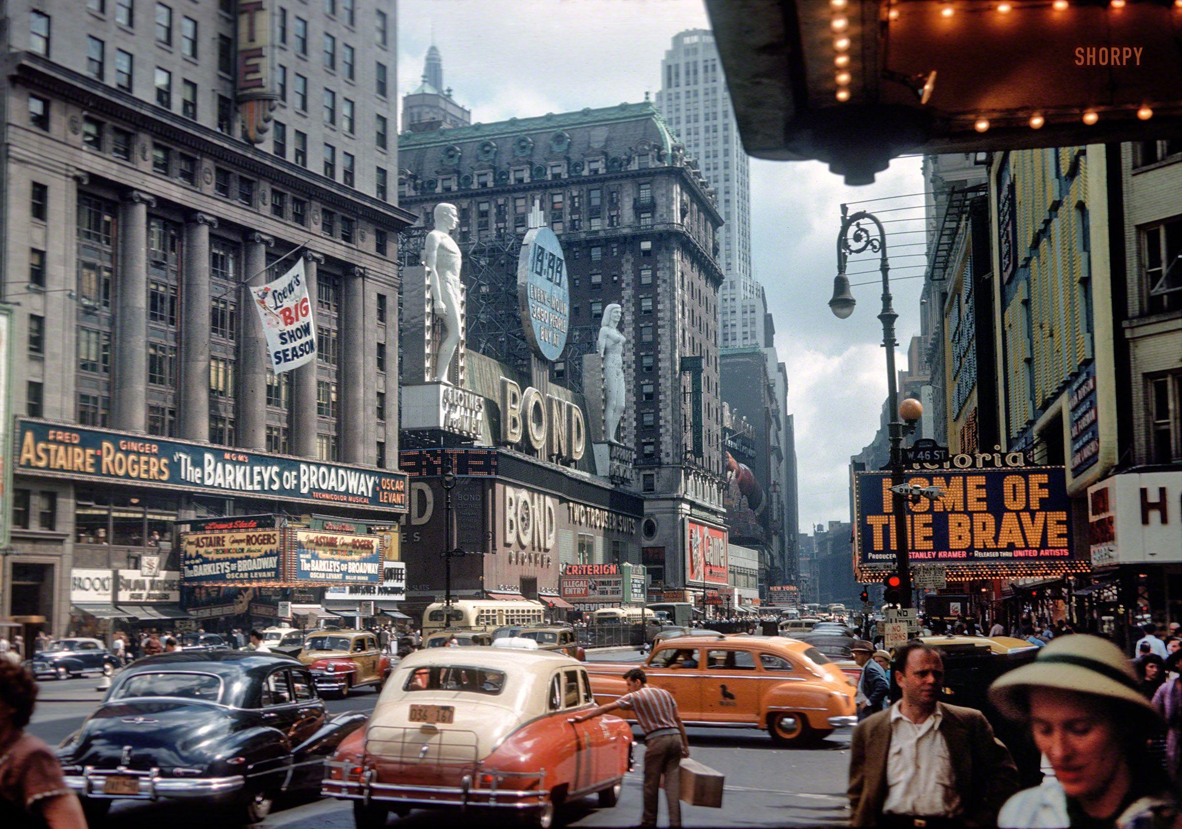 York 1949 Kodachrome Slide Of Times Square Shorpy