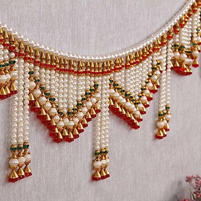 Traditional Handmade Pearl Door Hanging Toran Diwali Home Decor