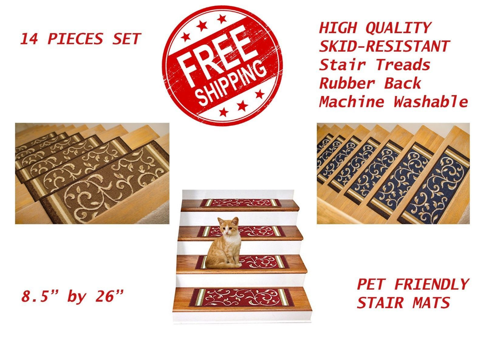 Best Stair Treads 175517 Set Of 14 Non Slip Rubber Backing 400 x 300