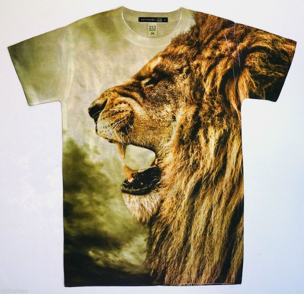 1b301edbbad KAYDEN.K Men's Sublimation T-shirt Roaring Lion All Over Print Tee S ...