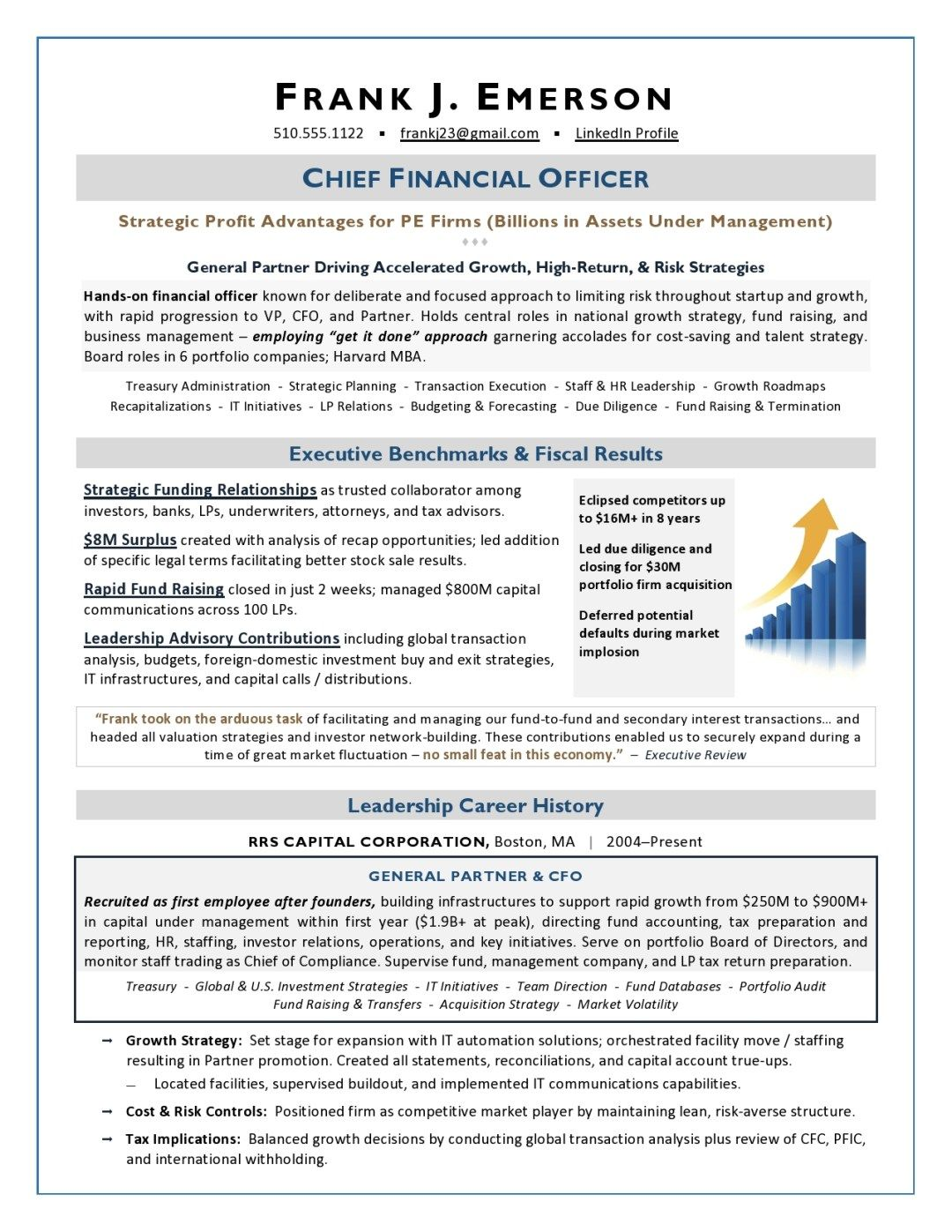 Private Equity Cfo Resume Sample Page 1 Executive Resume Resume Examples Resume Writer