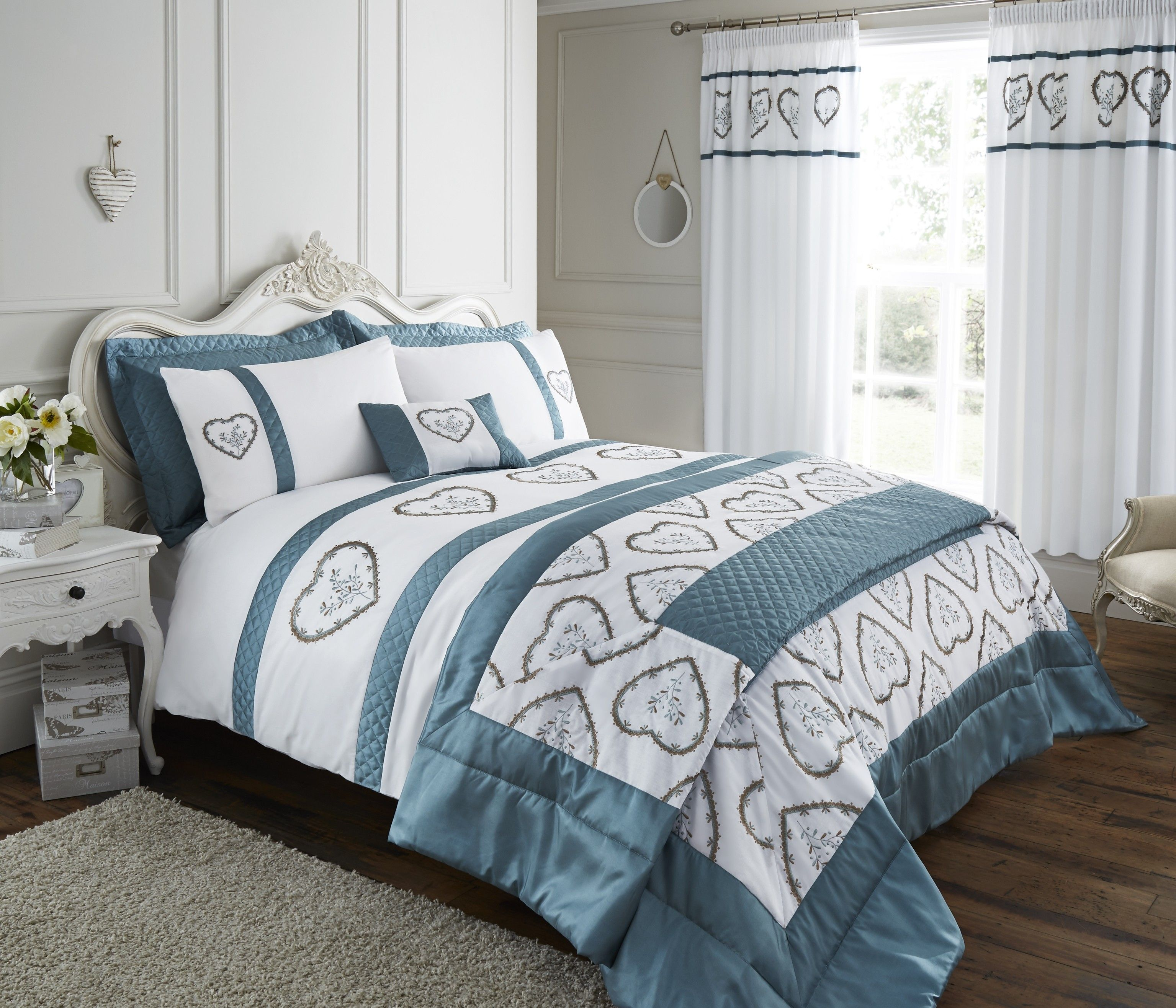 Life From Coloroll Heart Embroidered Panel Duvet Set Duckegg Sets Bedroom Ponden