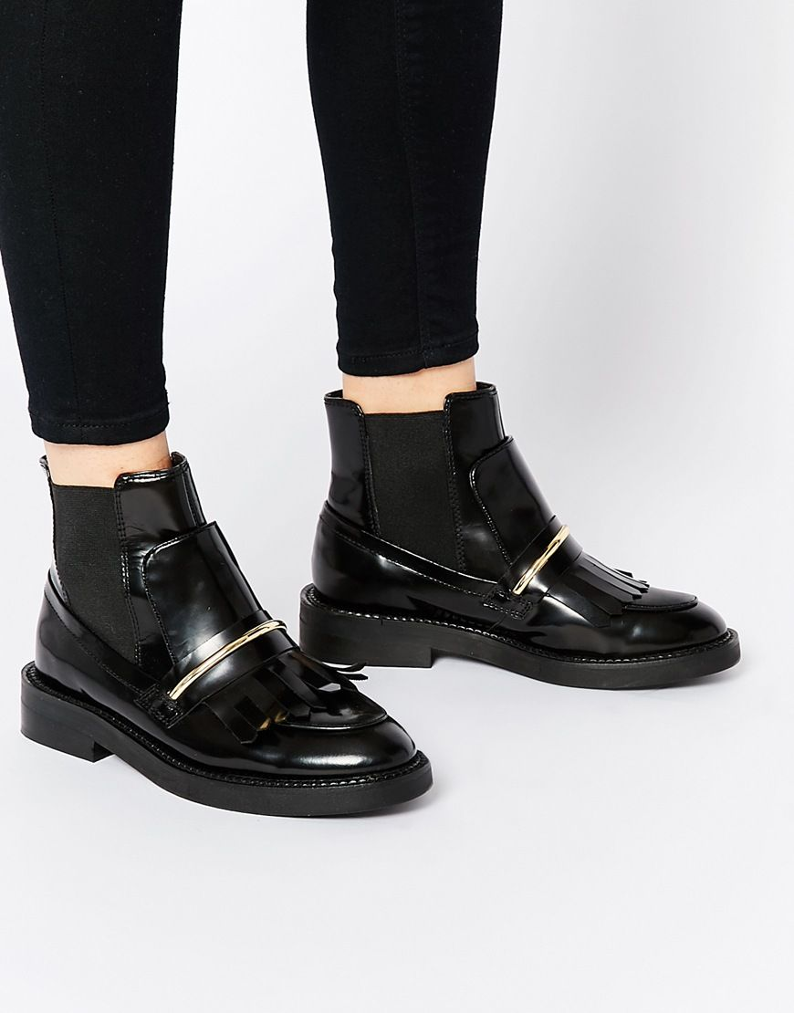 Image 1 of ASOS ANGELIC TOUCH Chelsea Leather Ankle Boots ...