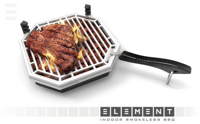 Element Indoor Smokeless BBQ uses your stove to heat lava rocks ...