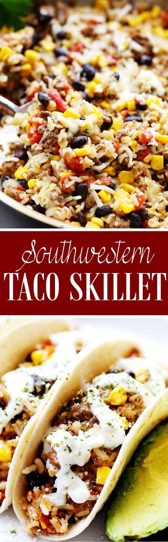 Southwestern Taco Skillet - The delicious Southwestern flavors of a taco are made quick and easy in this one-skillet recipe! Super quick weeknight meal!