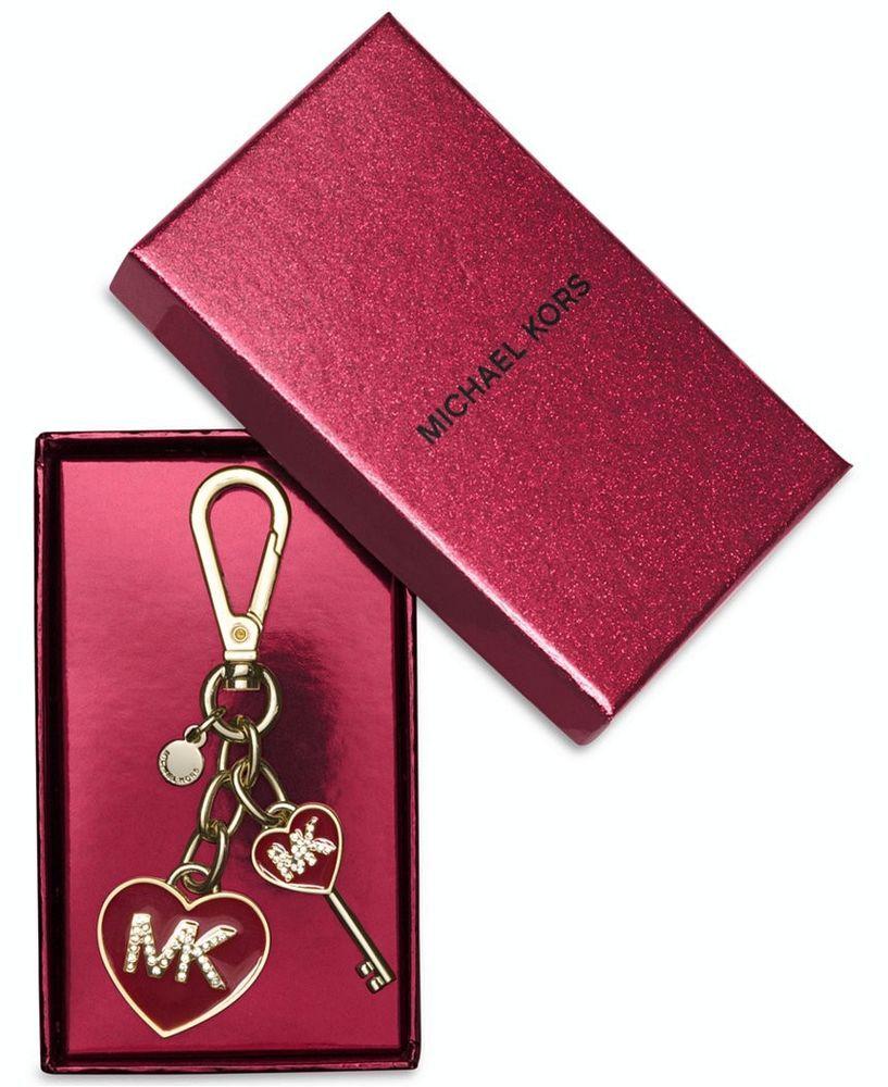 New Michael Kors Enamel Logo Heart Key Fob/Chain with Gift Box Cherry Red #MichaelKors