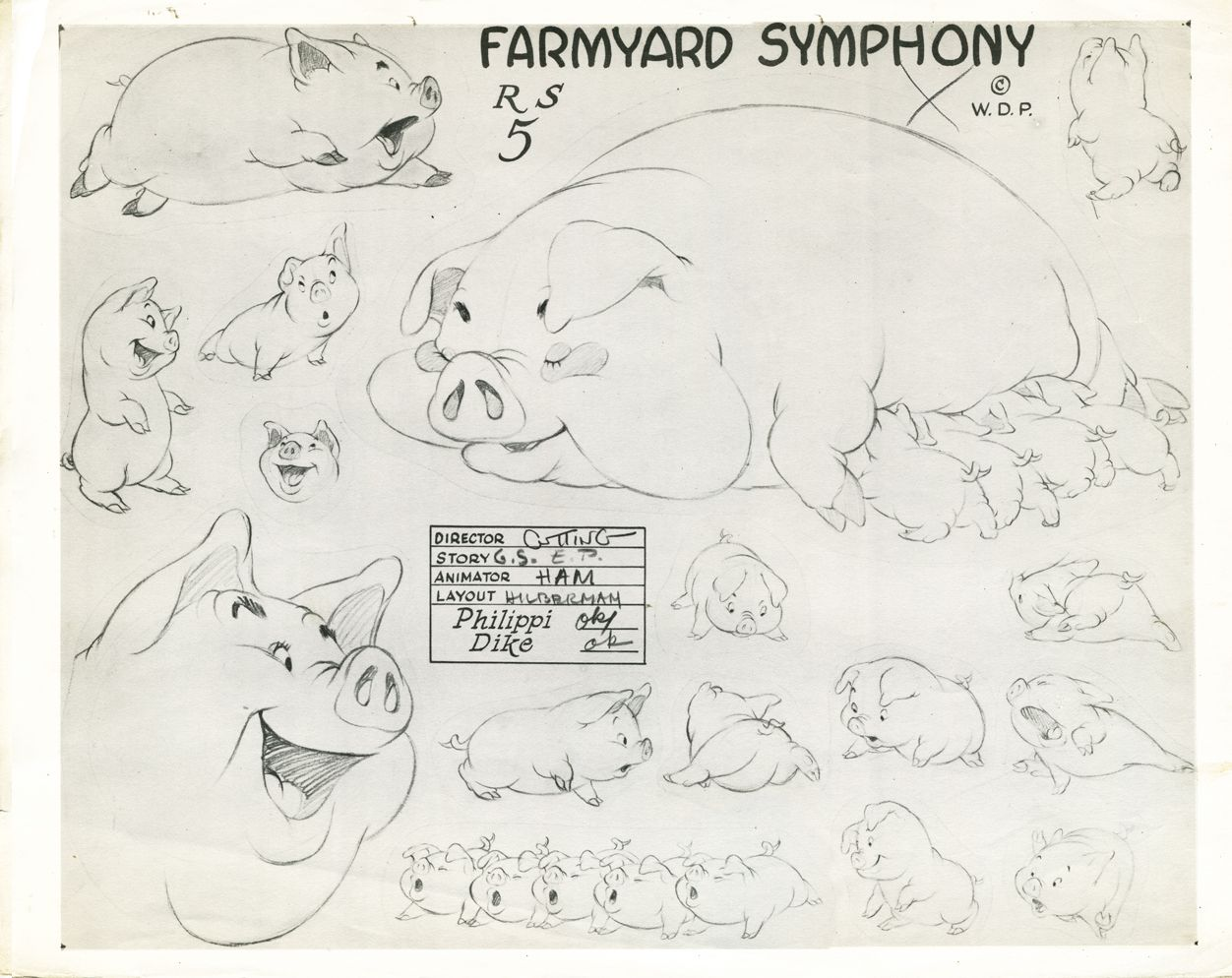 model sheet for pig and piglets featured in the silly symphony