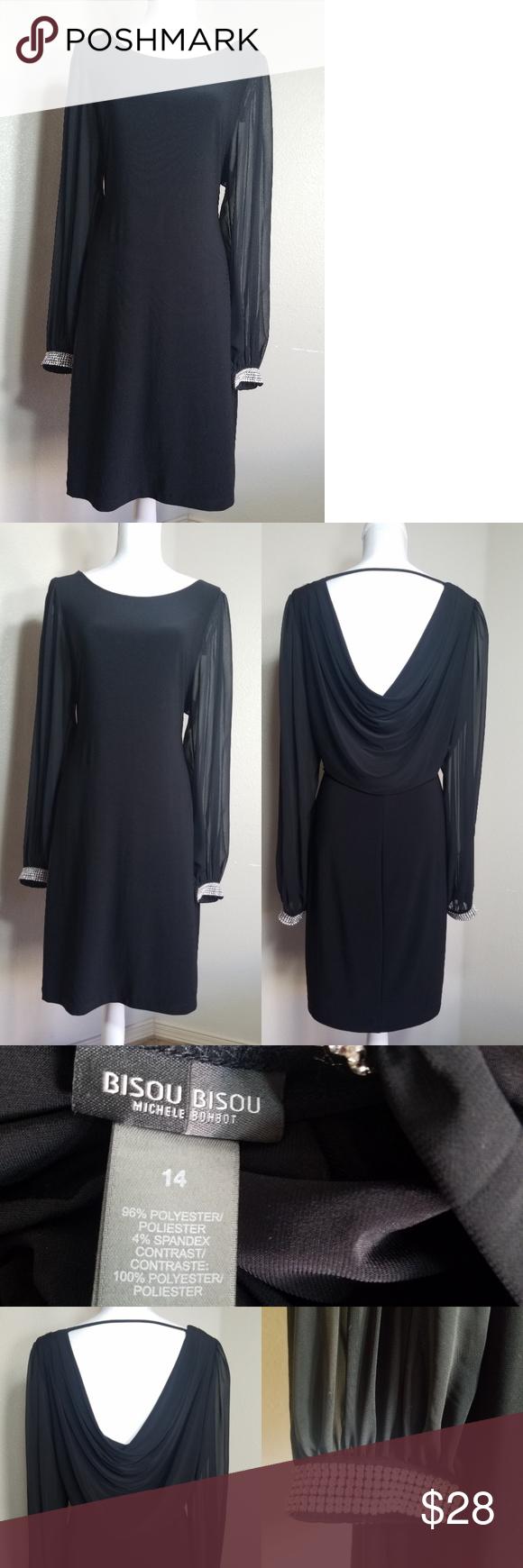 Bisou bisou little black dress sheer long sleeves my posh picks